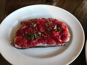 Raspberry ricotta toast